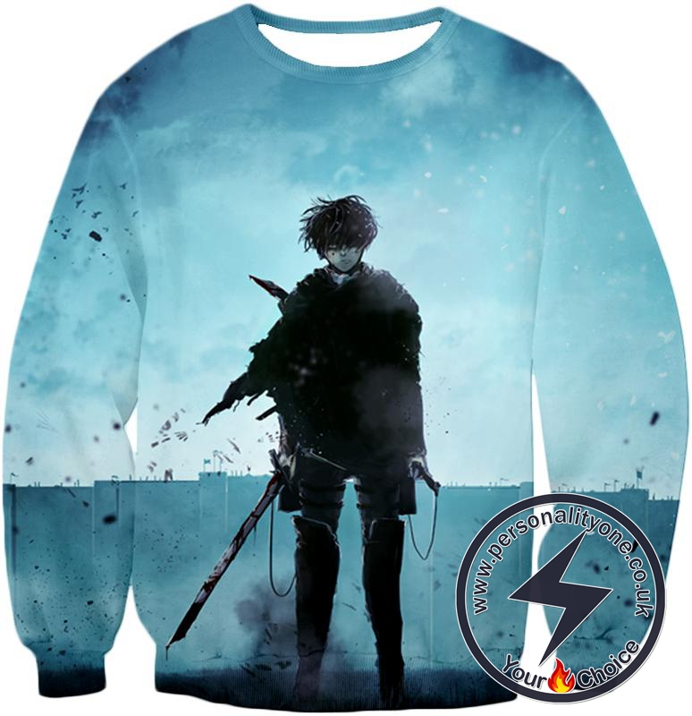 Attack on Titan Deadly Fighter Captain Levi Blue Sweatshirt