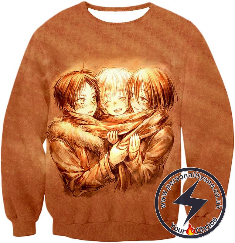 Attack on Titan Three Best Childhood Friends Eren X Mikasa X Armin Cool Anime Promo Sweatshirt