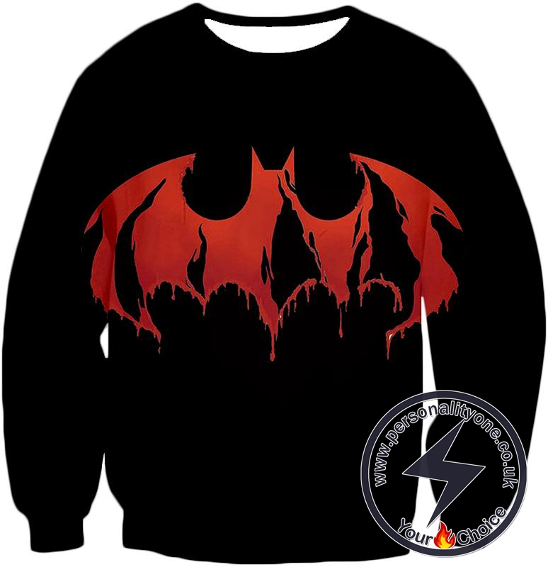 Best Comic Book Hero Batman Blood Red Logo Promo Black Sweatshirt