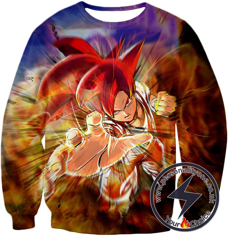Dragon Ball Super Amazing Super Saiyan God Mode Goku Ultimate Action Sweatshirt