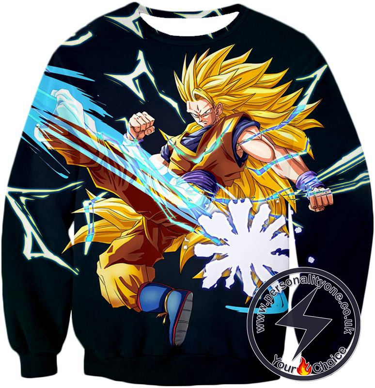 Dragon Ball Super Amazing Warrior Goku Super Saiyan 3 Cool Action Black Sweatshirt