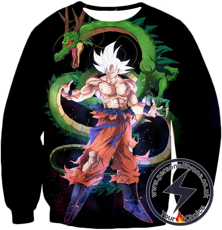 Dragon Ball Super Cool Hero Goku Super Saiyan White X Dragon Shenron Awesome Black Sweatshirt