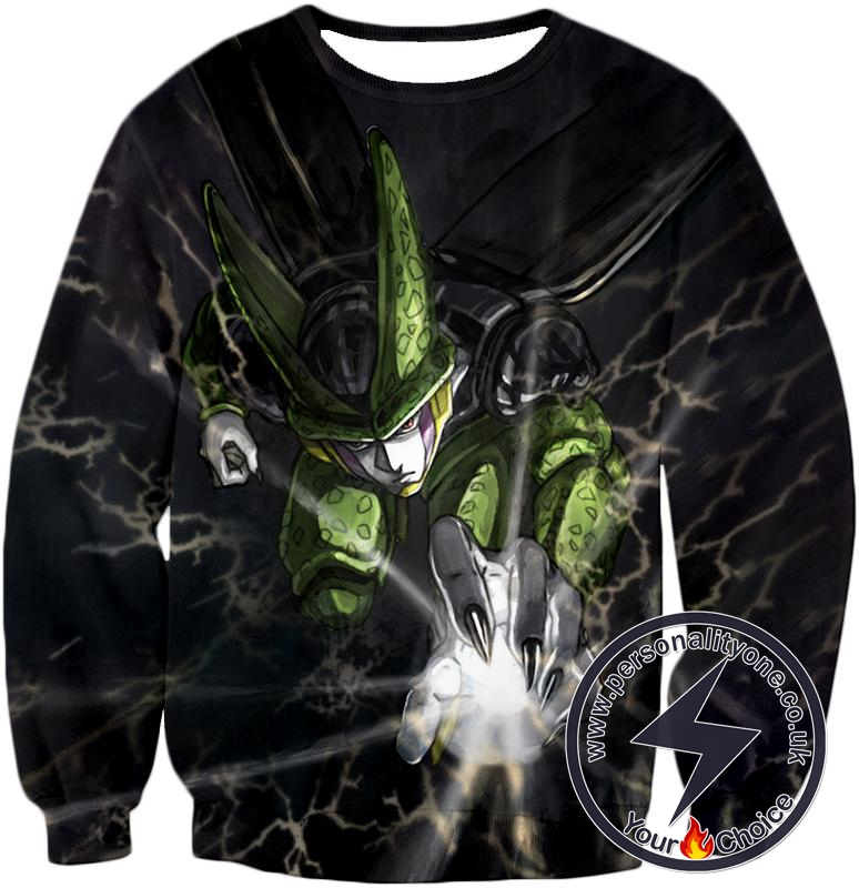 Dragon Ball Super Deadly Regenerating Villain Cell Cool Action Black Sweatshirt