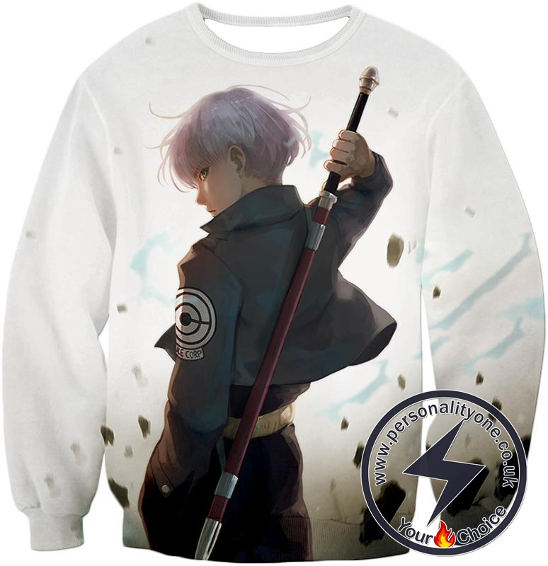 Dragon Ball Super Extremely Cool Future Trunks Awesome Graphic White Sweatshirt