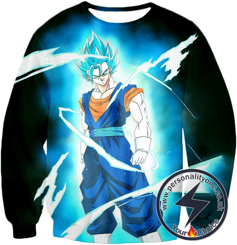 Dragon Ball Super Incredible Fusion Technique Vegito Super Saiyan Blue Cool Promo Black Sweatshirt