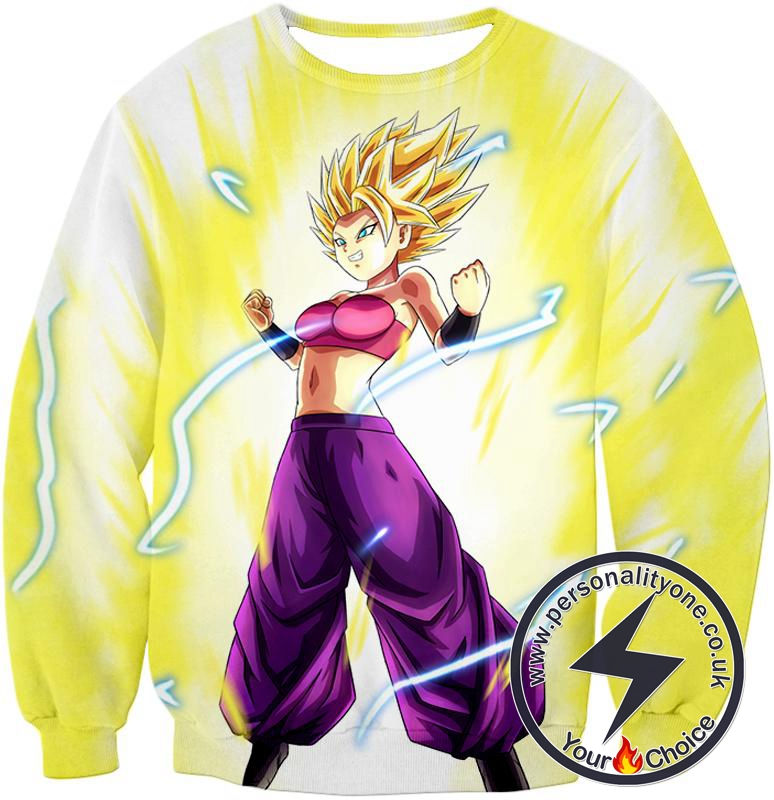 Dragon Ball Super Super Saiyan 2 Caulifla Awesome Anime Action White Sweatshirt