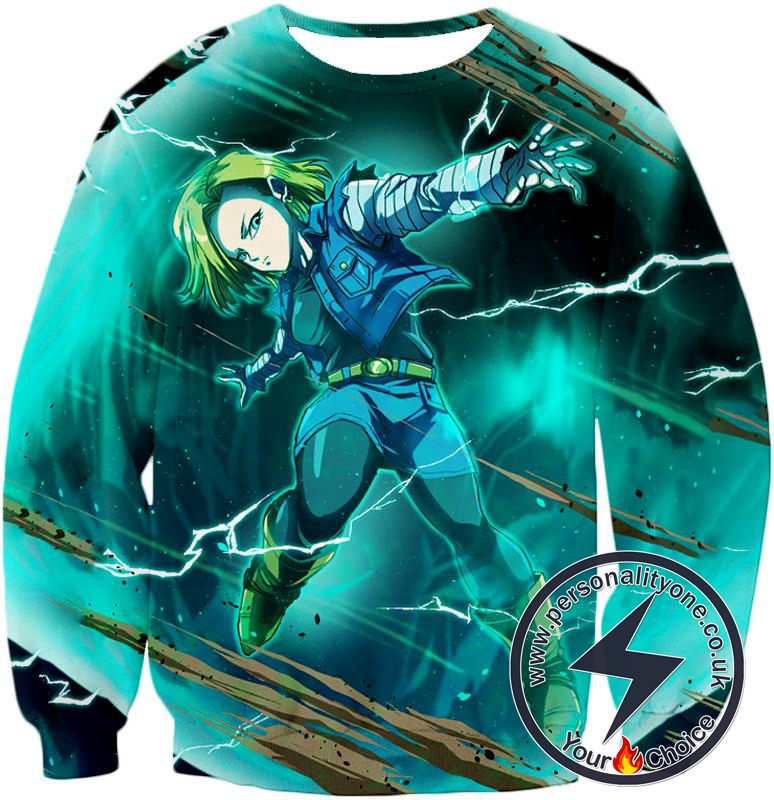Dragon Ball Super Very Cool Action Hero Android 18 Awesome Graphic Promo Sweatshirt