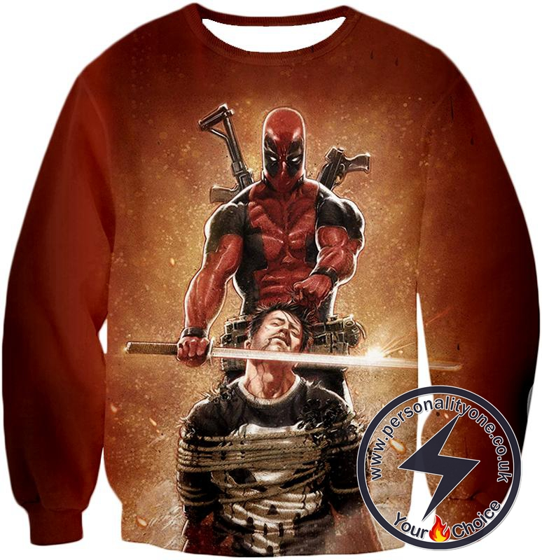 Excellent Mercenary Deadpool Hired to Kill The Punisher Cool Black Action Sweatshirt