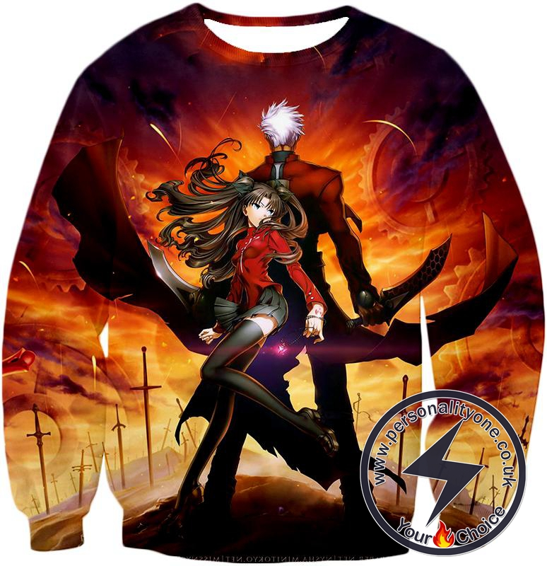 Fate Stay Night Awesome Rin and Archer Shirou Cool Action Sweatshirt