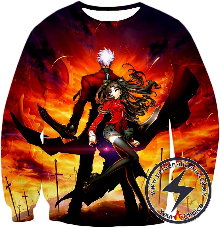 Fate Stay Night Cool Rin Tohsaka and Archer Action Sweatshirt