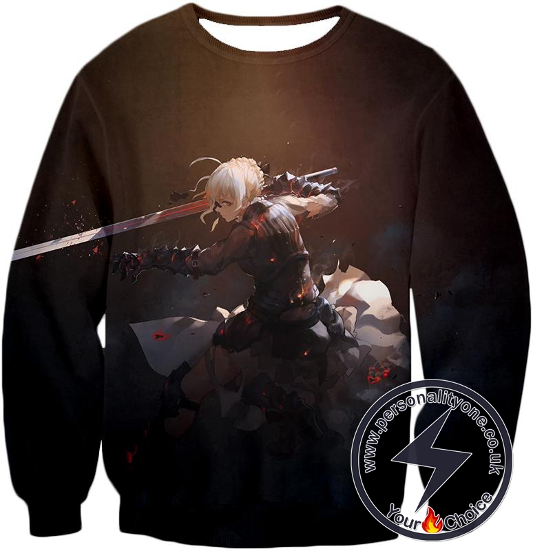 Fate Stay Night Cool Saber Alter Arturia Browm Action Sweatshirt