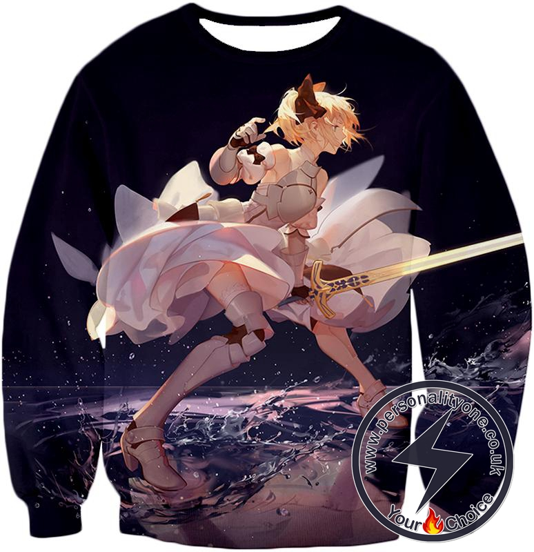 Fate Stay Night Gorgeous Altria Pendragon Black Action Sweatshirt