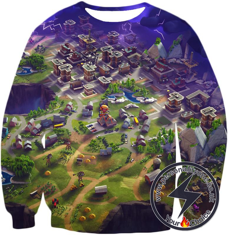 Fortnite Sweatshirt Battle Royale Map Overview