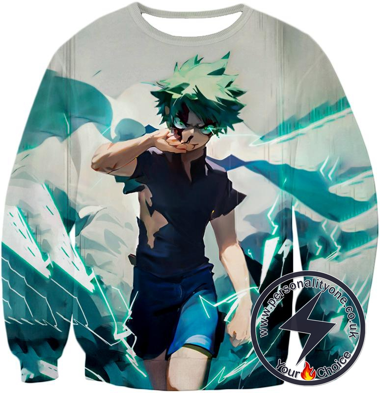 My Hero Academia Izuki Midoriya Incredible Hero Awesome Anime Action White Sweatshirt