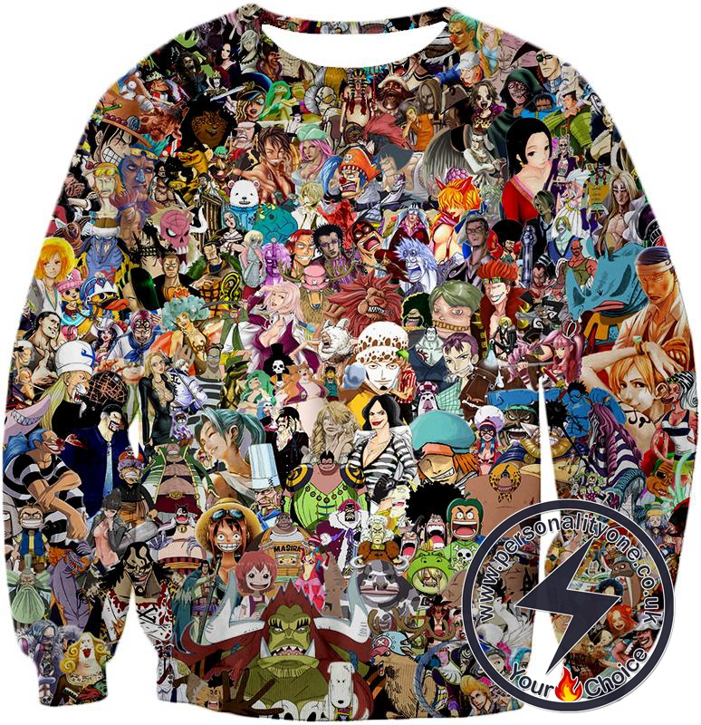 One Piece Awesome Anime One Piece All in One Characters Sweatshirt