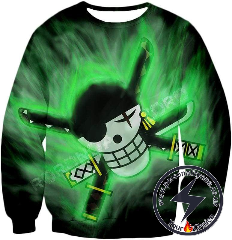 One Piece Awesome Roronoa Zoro Logo Cool Green Sweatshirt