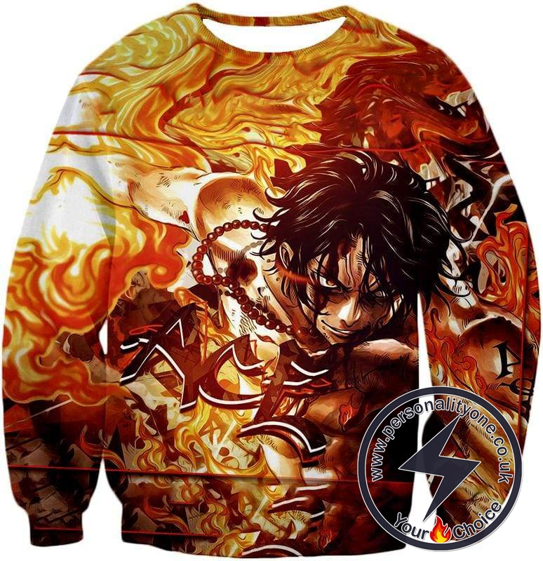 One Piece Cool Pirate Portgas D Ace Aka Fire Fist Ace Action Sweatshirt