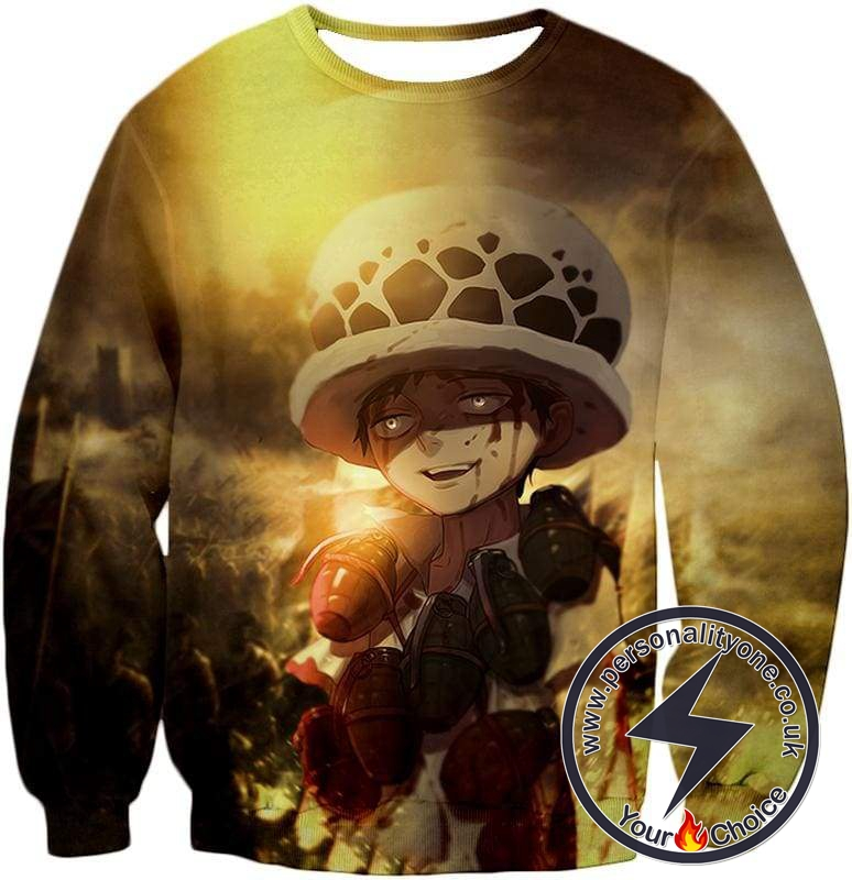 One Piece Painful Past Dying Kid Trafalgar D Law Cool Action Sweatshirt
