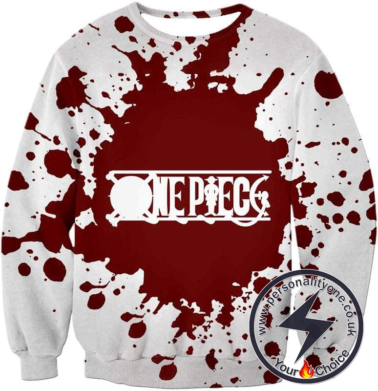 One Piece Super Cool One Piece Anime Promo Logo White Sweatshirt