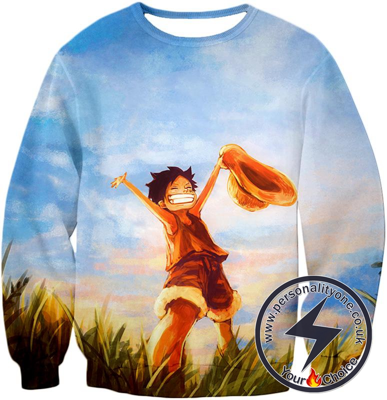 One Piece Super Cool One Piece Pirate Kid Luffy Blue Sweatshirt