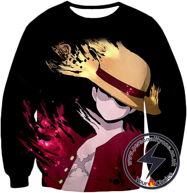 One Piece Super Cool Pirate Captain Straw Hat Luffy Cool Black Sweatshirt
