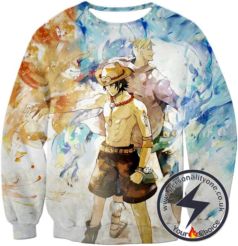 One Piece Whitebeard Pirates Fire Fist Ace and Marco the Phoenix Action Sweatshirt