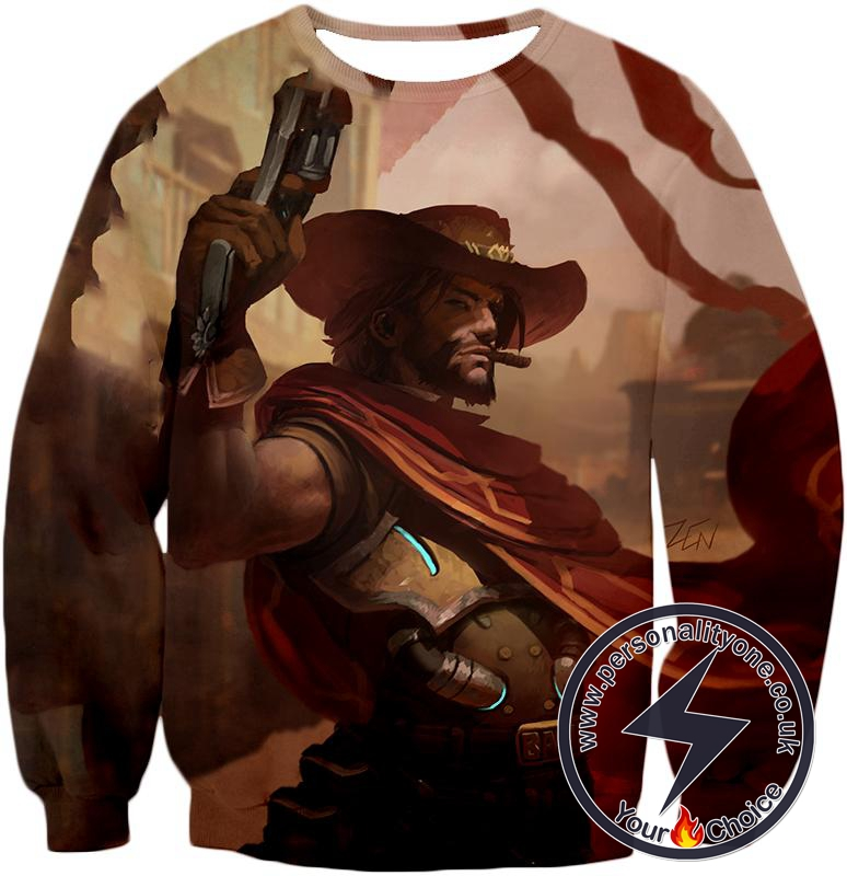 Overwatch Awesome Bounty Hunter Jesse McCree Cool Action Sweatshirt