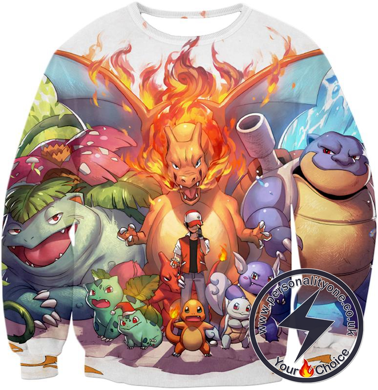 Pokemon Ash Ketchum All Cool First Generation Pokemons Awesome Sweatshirt