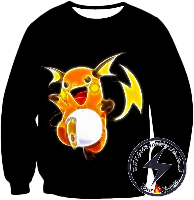 Pokemon Cool Thunder Pokemon Raichu Amazing Black Sweatshirt