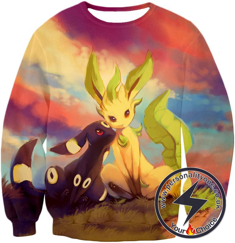 Pokemon Cute Wolf Pokemons Umbreon and Leafeon Sweatshirt