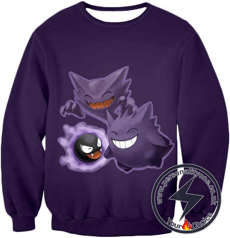 Pokemon Favourite Ghost Pokemon Trio Ghastly Hunter and Gengar Cool Anime Sweatshirt