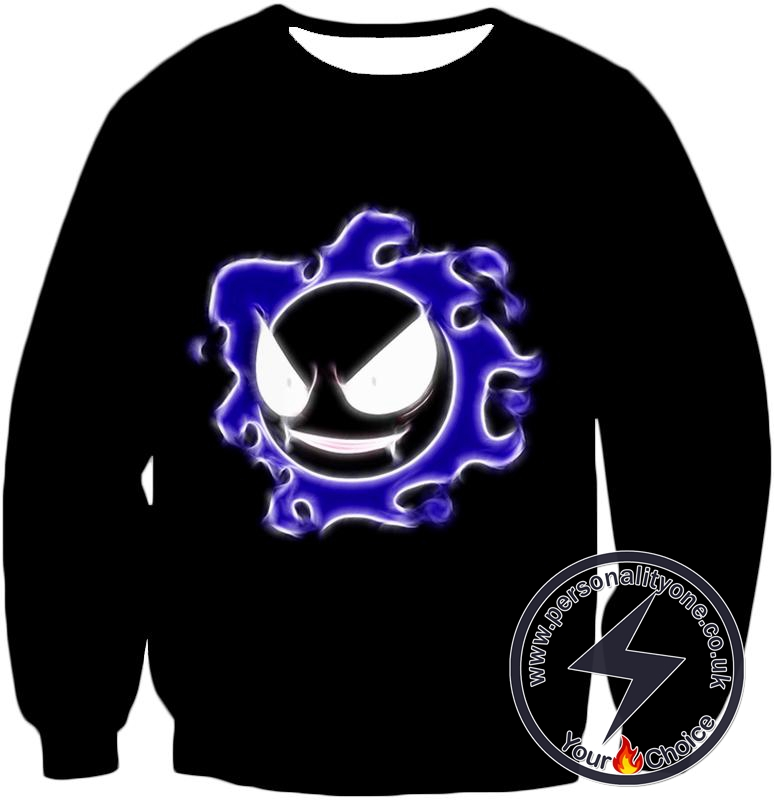 Pokemon Super Cool Ghastly Ghost Type Pokemon Awesome Black Sweatshirt