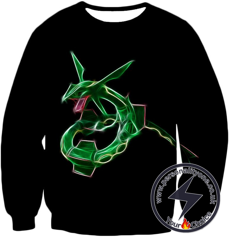 Pokemon Super Cool Legendary Flying Dragon Pokemon Rayquaza Awesome Anime Black Sweatshirt