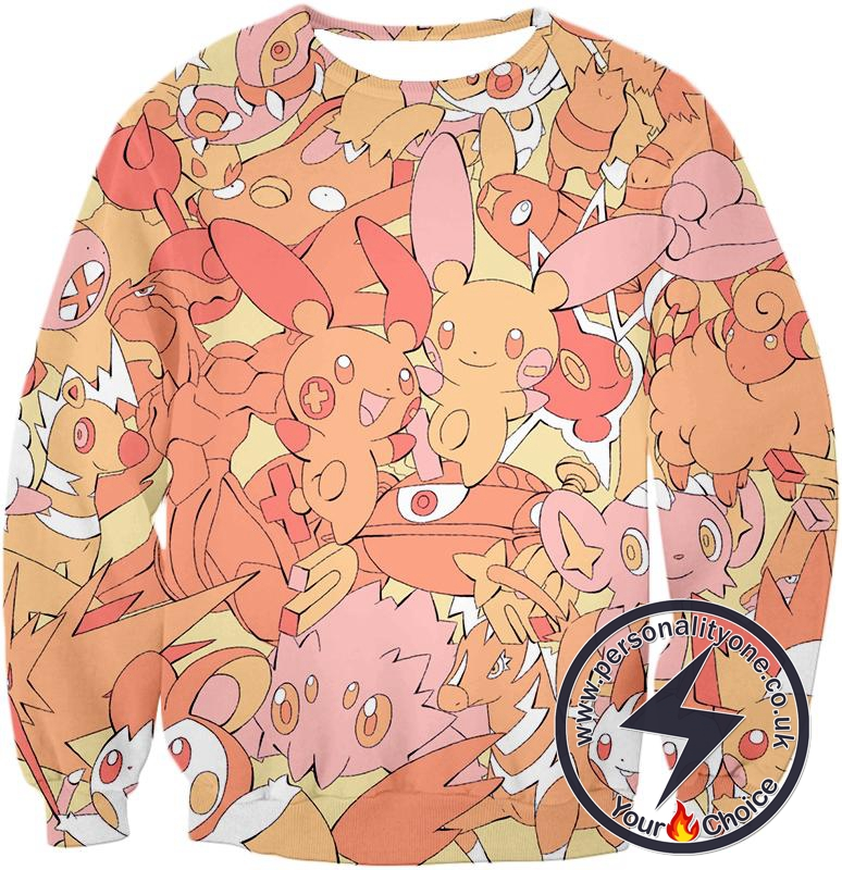Pokemon Super Cute Thunder Type Pokemons All in One Cool Sweatshirt
