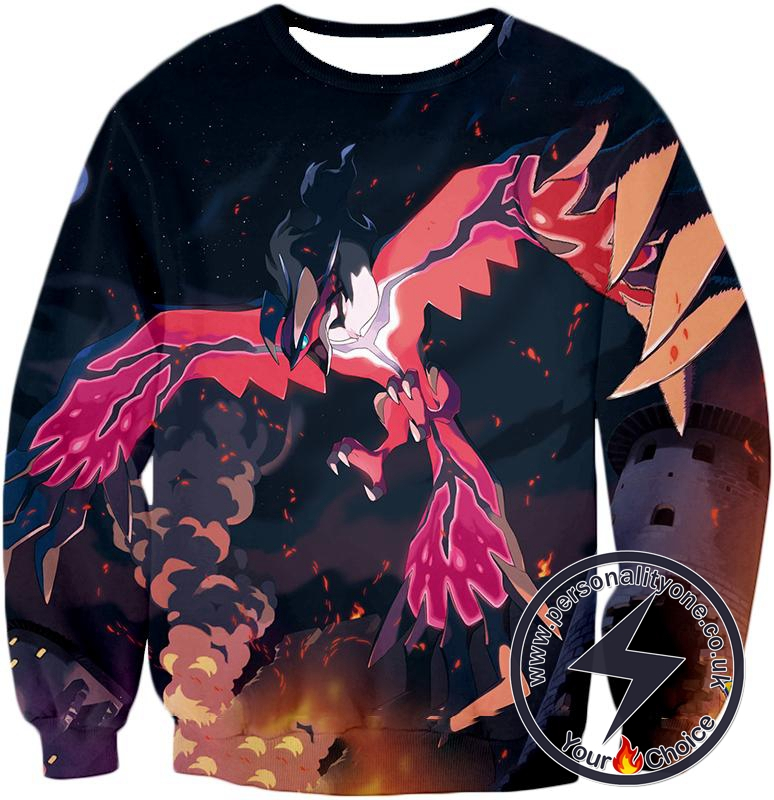 Pokemon Yveltal Dark Flying Type Pokemon Amazing Action Sweatshirt