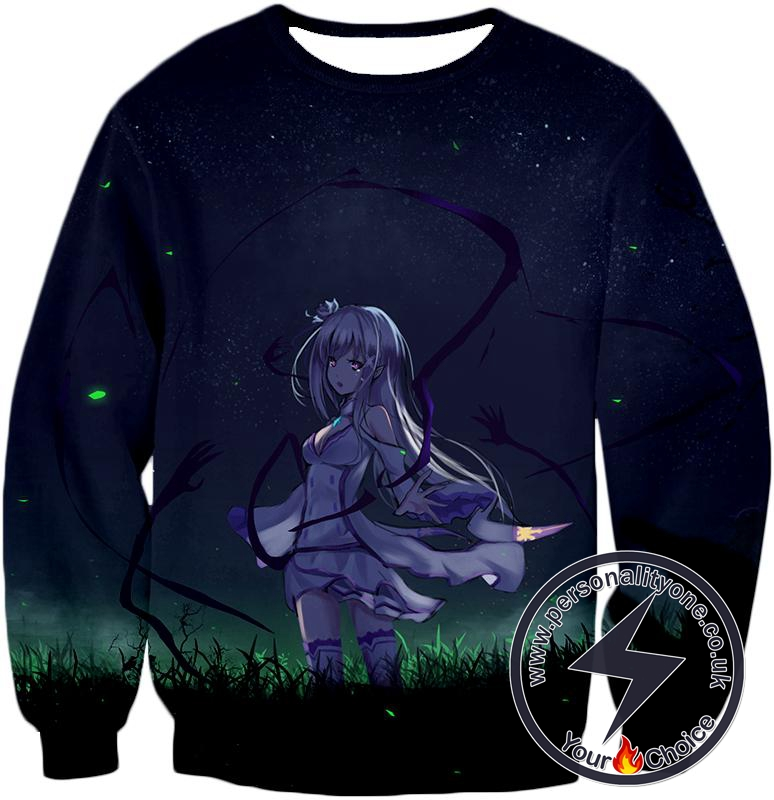 Re:Zero Anime Beauty Princess Emilia Cool Black Sweatshirt