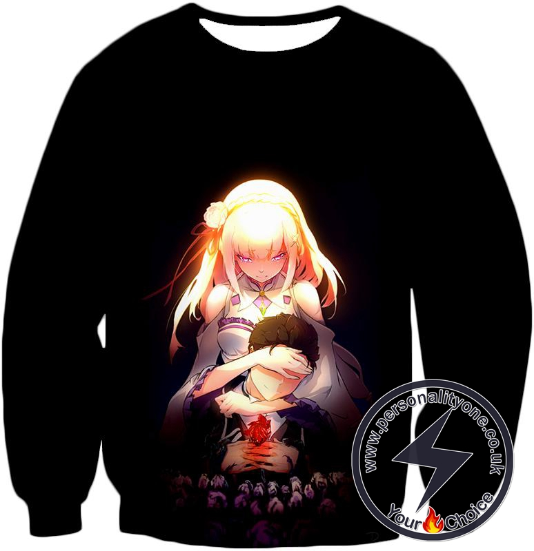 Re:Zero Cute Couple Emilia and Subaru Cool Black Sweatshirt