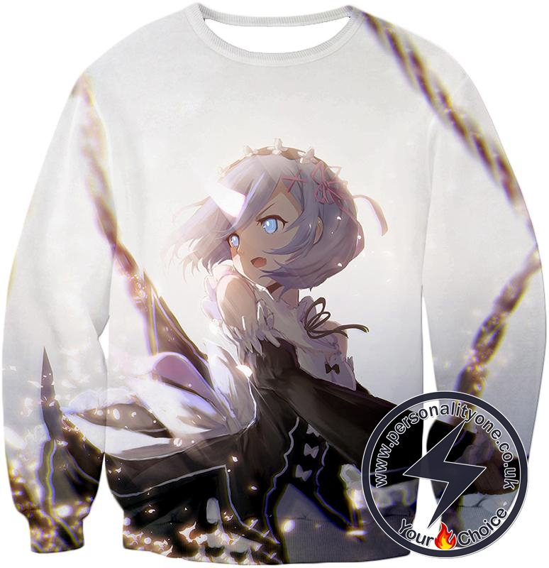 Re:Zero Super Cute Rem White Anime Action Sweatshirt