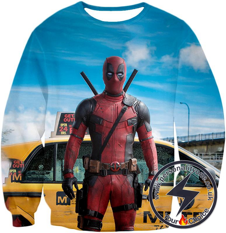 Serious Deadpool Movie Look Cool Blue Sweatshirt