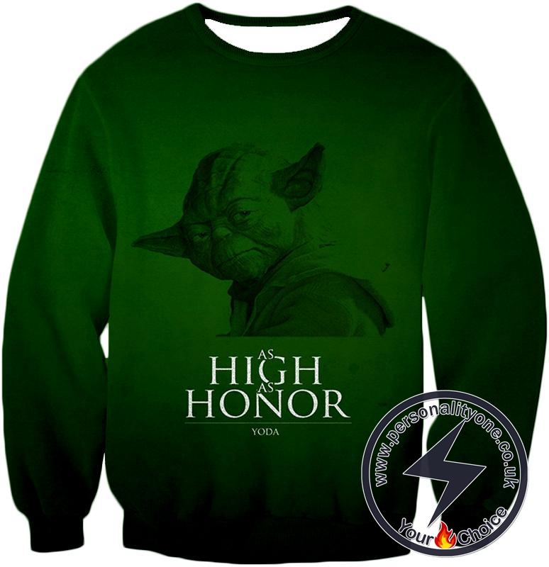 Star Wars Yoda The Legendary Jedi Master Awesome Green Quoted Sweatshirt
