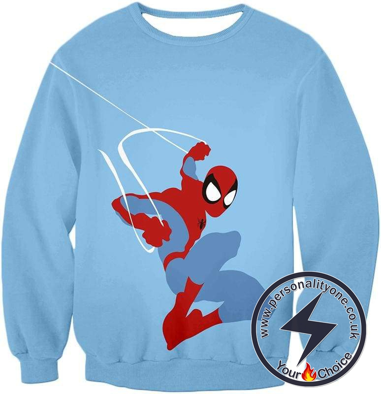 Super Cool Animated Spiderman Web Action Blue Sweatshirt