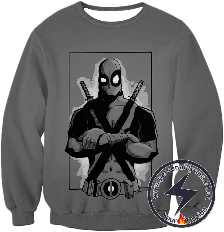 Super Cool Grey Deadpool Promo Pose Sweatshirt