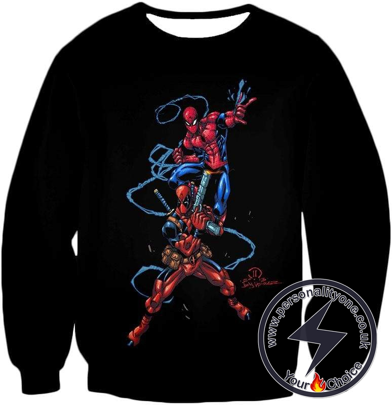 Super Cool Spiderman and Deadpool Action Black Sweatshirt
