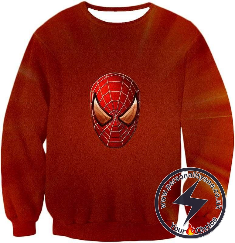 Ultimate Spiderman Mask Promo Cool Red Sweatshirt