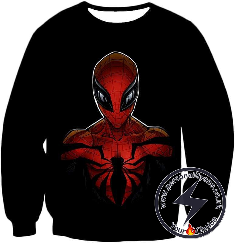 Wall Crawling Superhero Spiderman Animated Black Sweatshirt