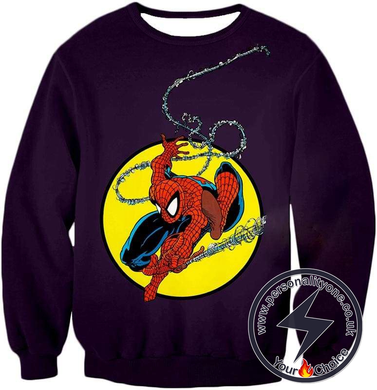 Web Shooting Animated Hero Spiderman Purple Sweatshirt