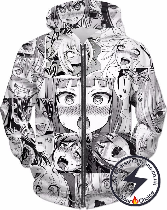 Ahegao Zip Up Hoodie Classic Face