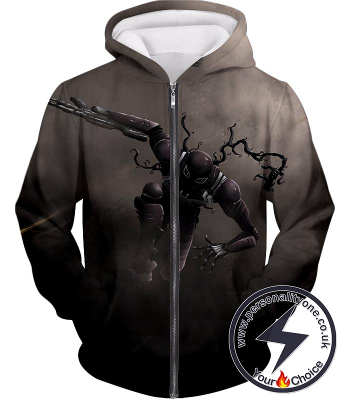Alien Symbiote Life Venom Grey Zip Up Hoodie