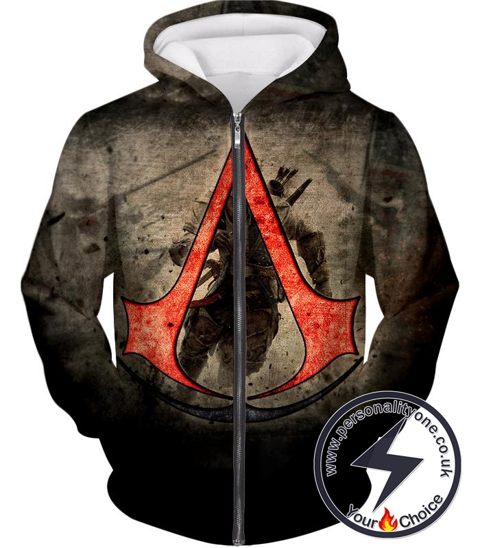 Amazing Assassin's Creed III Logo Promo Awesome Graphic Zip Up Hoodie