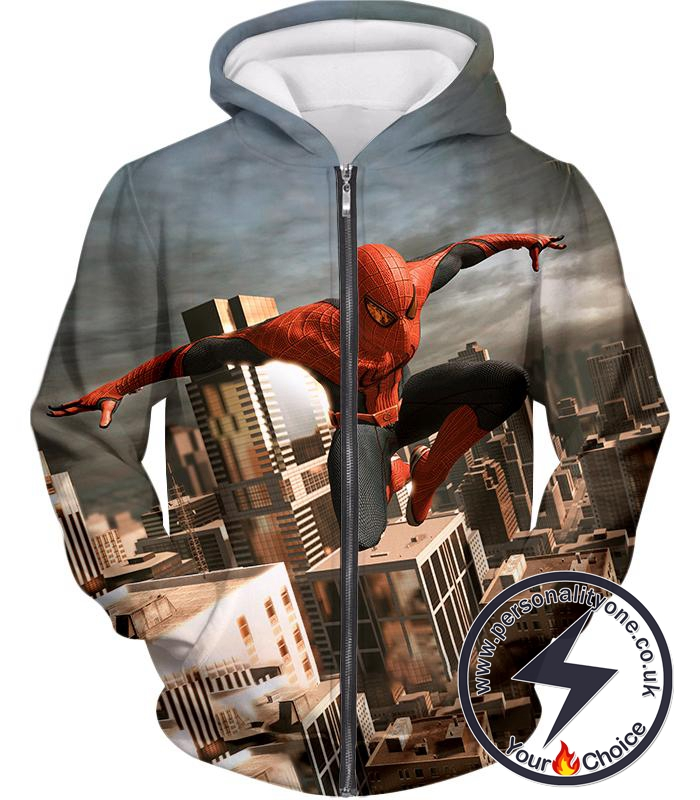 Amazing Spiderman 3D Action Zip Up Hoodie